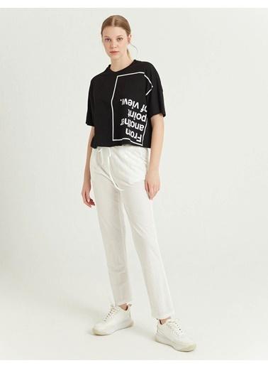 BGN Siyah - Baskılı Pamuklu T-Shirt Siyah